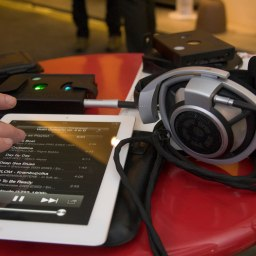 The Hugo is hooked up to an iPad, running Onkyo's HF Player, which enables both high-resolution PCM and DSD playback on iOS devices.