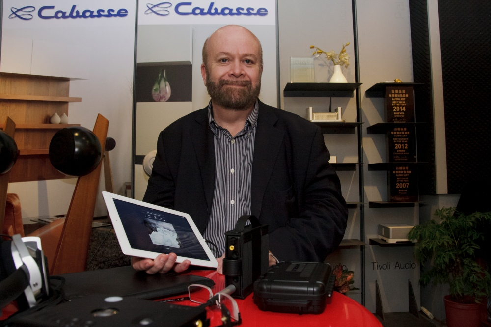 John Franks poses proudly with the Hugo, with Noble Audio Kaiser 10s in his ears.